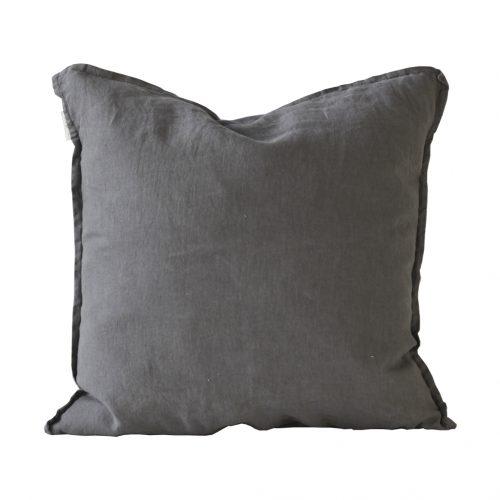 Kuddfodral i linne 50 x 50 grå / grön / off white-0