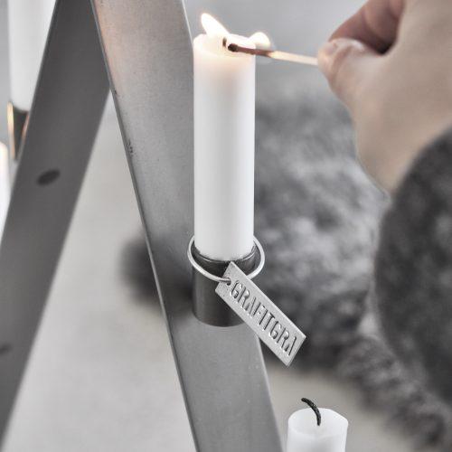 Adventsljusstake grå-8978