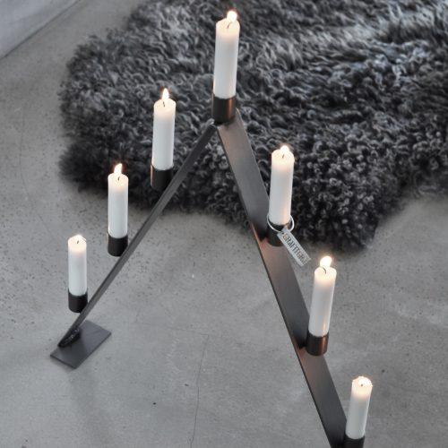 Adventsljusstake grå-8975