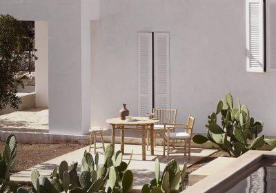 Matmöbler i bambu och betong. Njut av middagen utomhus under sommarsäsongen.